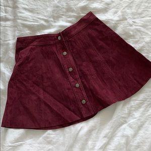 Maroon Snap Front Mini Skirt
